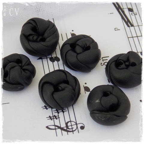 Small Black Polymer Clay Buttons