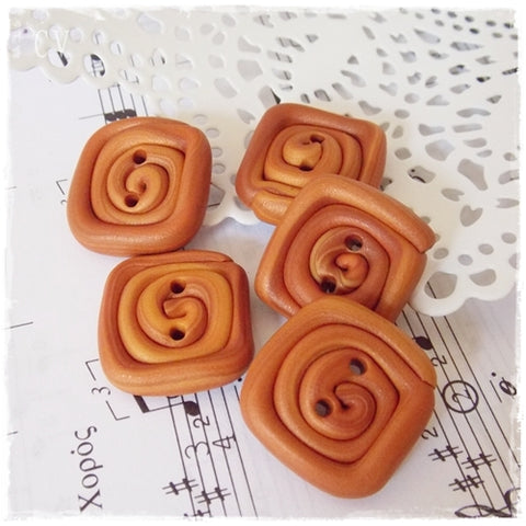 Caramel Brown Swirl Buttons *
