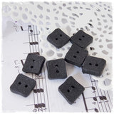 Small Black Square Polymer Clay Buttons