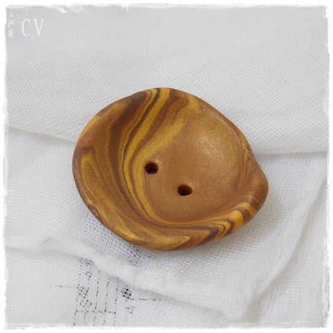Gold Polymer Clay Button *