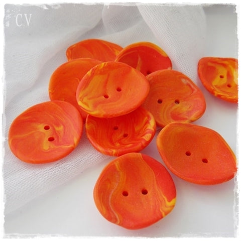 Oversized Orange Polymer Clay Buttons