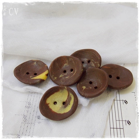 Brown and Yellow Round Polymer Clay Buttons