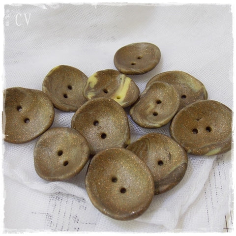 Khaki & Pastel Yellow Buttons ~