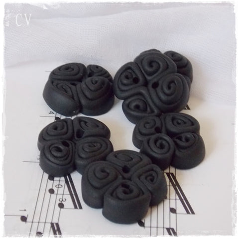 Spiral Black Polymer Clay Buttons