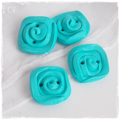 Sea Blue Polymer Clay Buttons