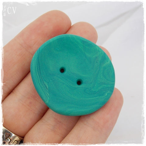 Oversized Teal Polymer Clay Button