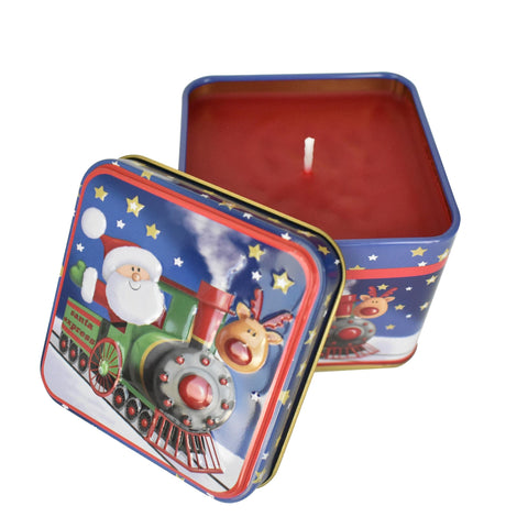 Red Christmast Tin Box Candle