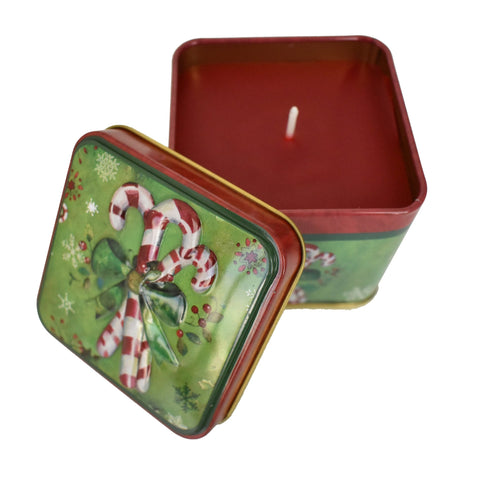 Candy Cane Christmas Tin Box Candle