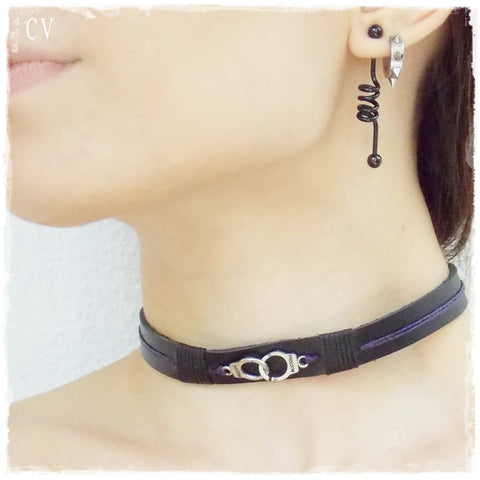 Bondage Black Leather Choker Collar