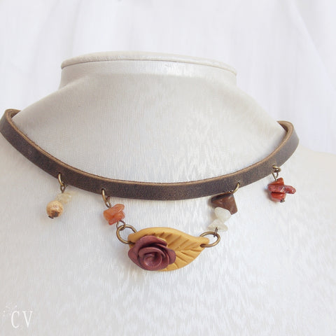 Rose Polymer Clay Choker