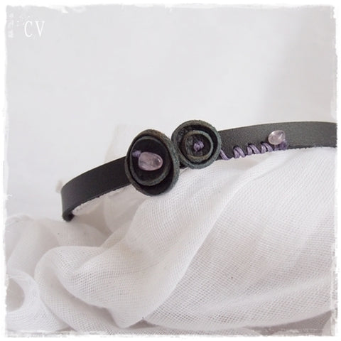 Organic Amethyst Black Leather Floral Choker Collar