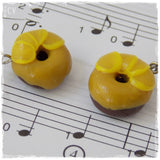 Donut Polymer Clay Earrings With Mustard Yellow Glaze