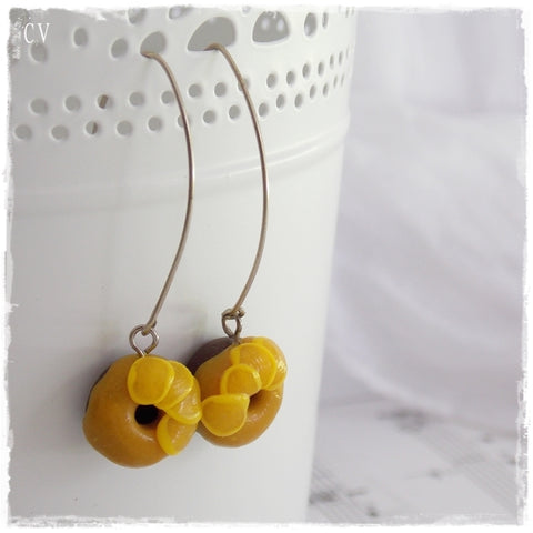 Donut Polymer Clay  Long Earrings