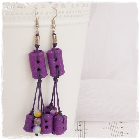 Polymer Clay Button Dangling Earrings