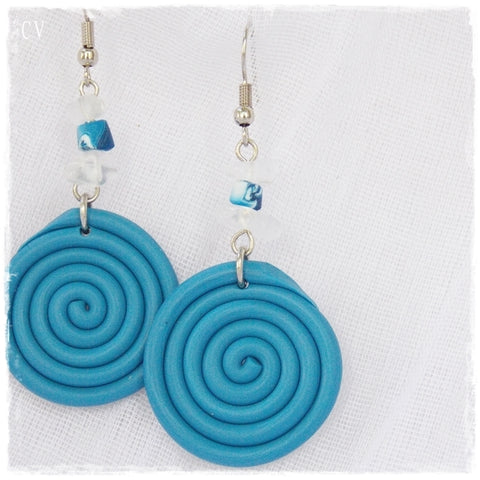 Pastel Blue Spiral Earrings