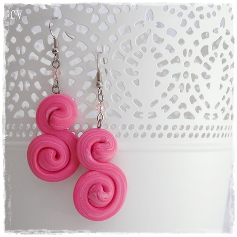 Spiral Pink Polymer Clay Earrings