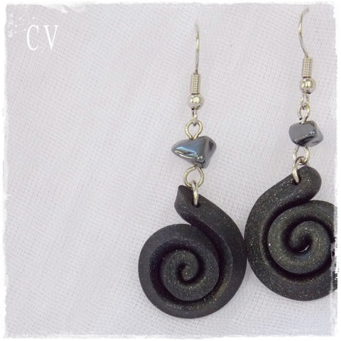 Hematite Polymer Clay Earrings