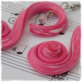 Long Spiral Pink Earrings Handmade Of Clay