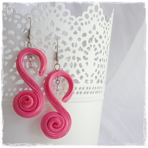 Pink Spiral Polymer Clay Earrings