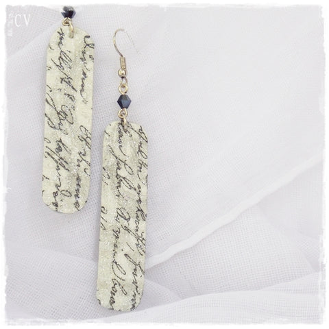 Long Calligraphy Leather Earrings