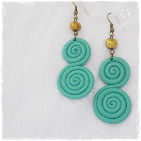 Seafoam Swirl Clay Earrings