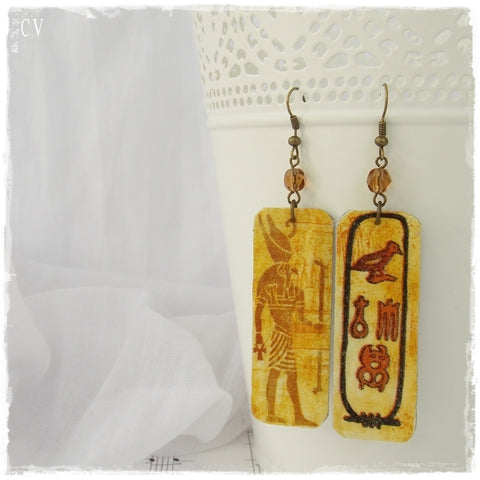 Pharaoh Long Leather Earrings