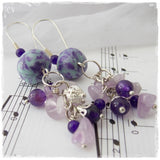 Chakra Amethyst Long Earrings