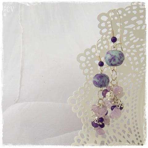 Amethyst Dangling Long Earrings