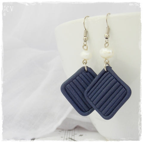 Blue Square Geometric Polymer Clay Earrings