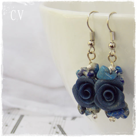 Something Blue Bridal Rose Earrings