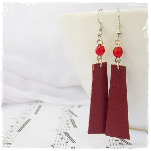 Long Wine Red Leather Earrings