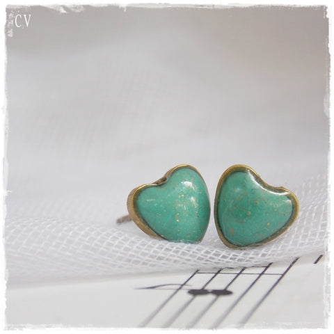 Tiny Turquoise Heart Stud Earrings