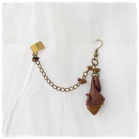 Tiger's Eye Ear Cuff Chain Earring