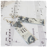 Music Deco Long Hematite Earrings - Clip Ons