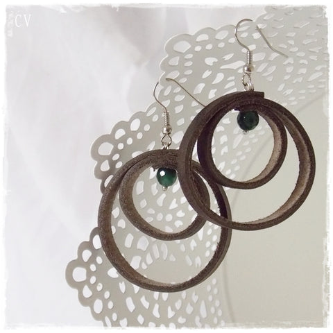 Large Brown Leather Hoop Earrings