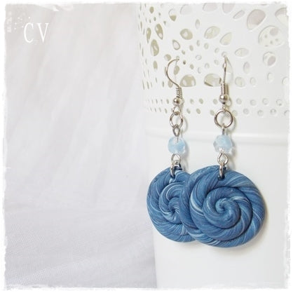 Nautical Polymer Clay Swirl Earrings
