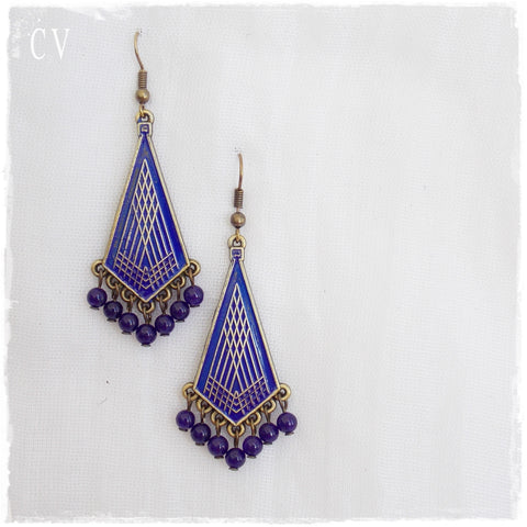 Amethyst Tribal Ethnic Earrings