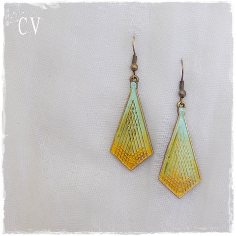 Ombre Pastel Mustard Yellow Earrings