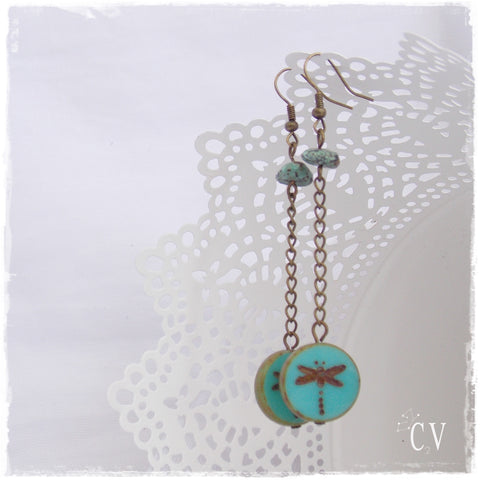 Long Dragonfly Dangle Earrings