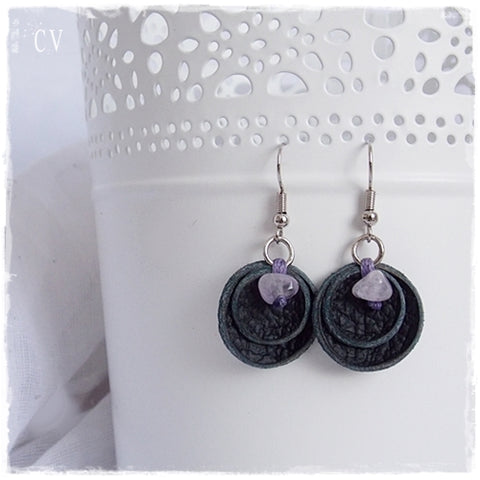 Gothic Amethyst Stone Leather Earrings