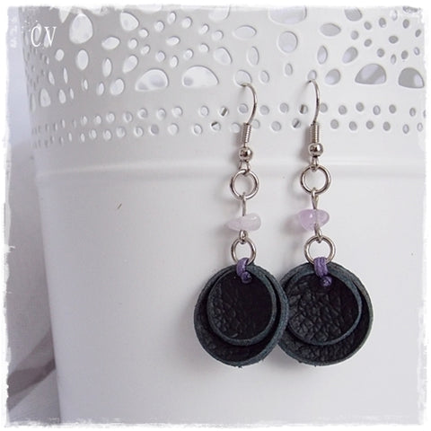 Round Light Black Leather Earrings
