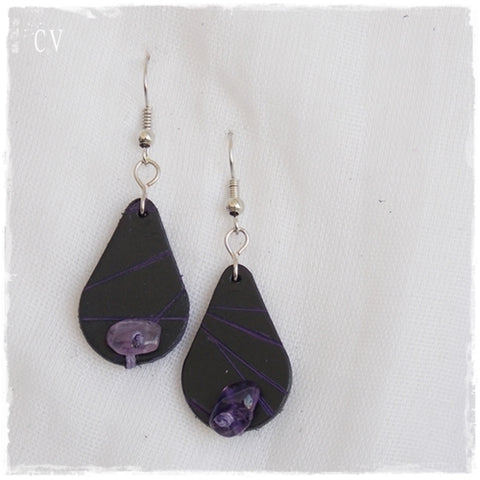 Teardrop Amethyst Leather Earrings