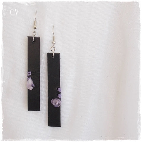 Amethyst Bar Black Leather Earrings