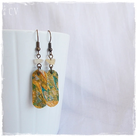 Klimt Decoupage Leather Earrings
