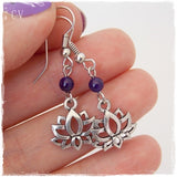 Amethyst Gemstone Lotus Earrings