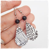 Black White Leather Drop Earrings