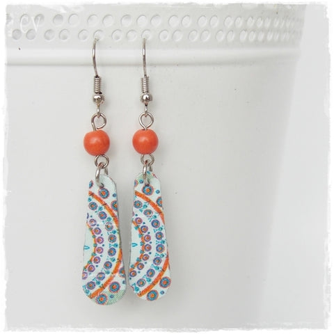 Blue and Orange Organic Leather Earrings