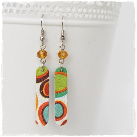 Decoupage Circles Leather Earrings