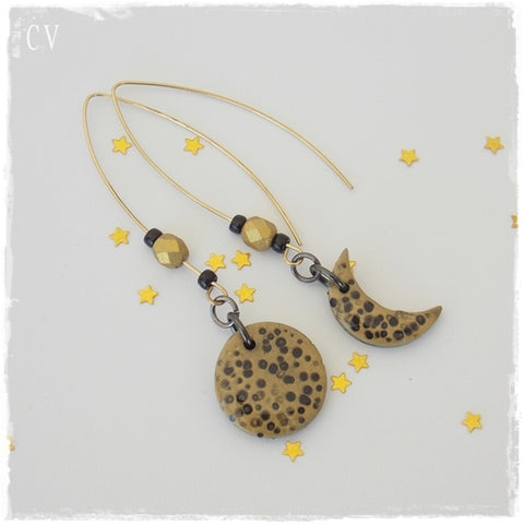 Moon Phases Polymer Clay Earrings