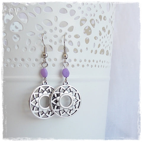 Crown Chakra Earrings in Silver